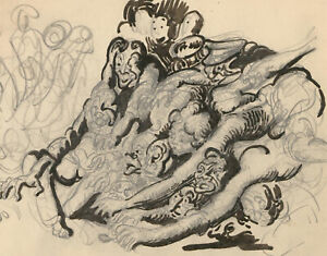 Harold-Hope-Read-1881-1959-Graphite-Drawing-Group-of-Demons