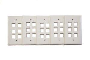 Pack of 6 Keystone Port Single Gang Data Wall Plates White 5