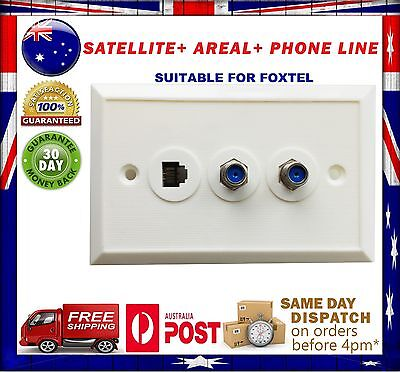 Foxtel Telstra Universal F-Type Wall Plate Wallplate TV RF Aerial Antenna White