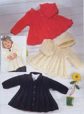 baby child pretty swing coats chunky knit knitting pattern 99p