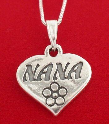 Sterling Silver Nana Necklace solid 925 pendant Grandma gran granny nan