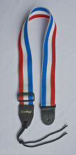 GUITAR STRAP RED WHITE BLUE STRIPES NYLON WITH SOLID LEATHER ENDS MADE IN U.S.A.