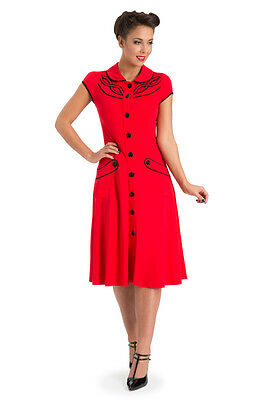VOODOO VIXEN FLOWER BUTTON RED FLARE DRESS ROCKABILLY 40'S 50'S VINTAGE WORK