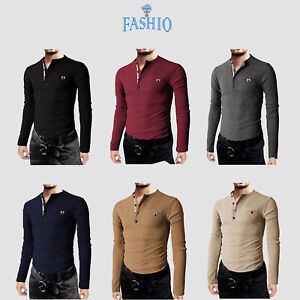 Mens-Thermal-Slim-Fit-Casual-Henley-Cotton-Long-Sleeve-Shirts-amp-Pocket