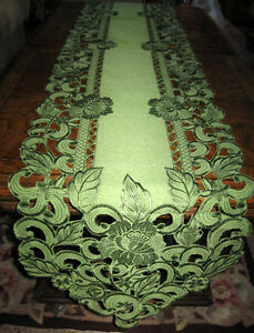 Image Is Loading EMBROIDERED CUTWORK TABLE RUNNER DRESSER SCARF LACY FLORAL