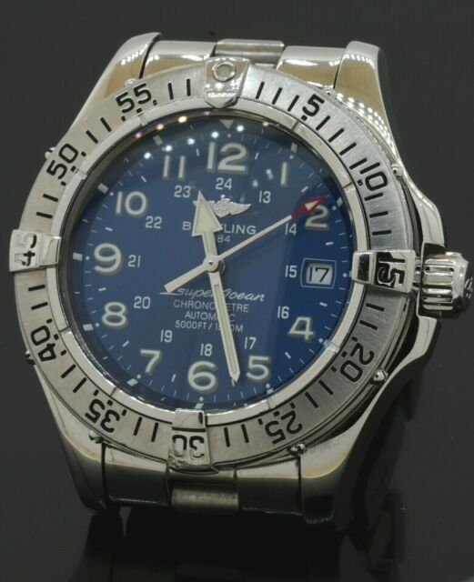 Breitling Super Ocean A17360 SS 42mm automatic men's diving watch w/ box/papers