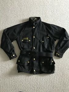 Barbour-International-A7-Waxed-Wax-Cotton-Biker-Jacket-Black-XS-S