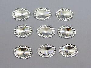 200-Clear-Acrylic-Flatback-Oval-Rhinestone-Gems-13X10mm-Embellishments