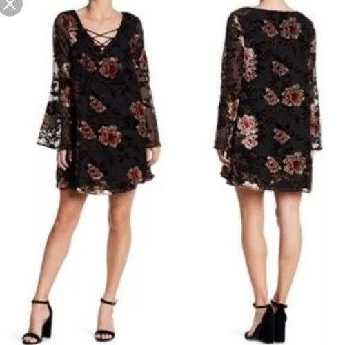 Cupcakes and Cashmere Floral Print Casual Dress Größe Small Boho Long Sleeve