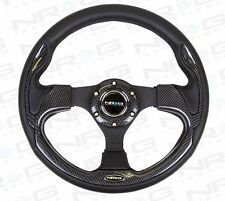 NRG STEERING WHEEL 320MM SPORT LEATHER Carbon Fiber INSERTS (PILOT Pilota Style)