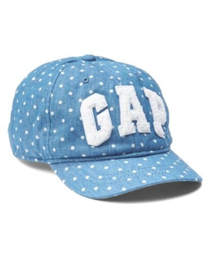 Gap Baby Girl Toddler Logo Eyelet Baseball Chambray Dot Hat Cap M//L Medium Large