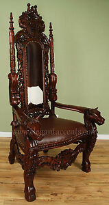 Awesome Image Is Loading Carved Mahogany Horse Head Gothic Throne Chair King