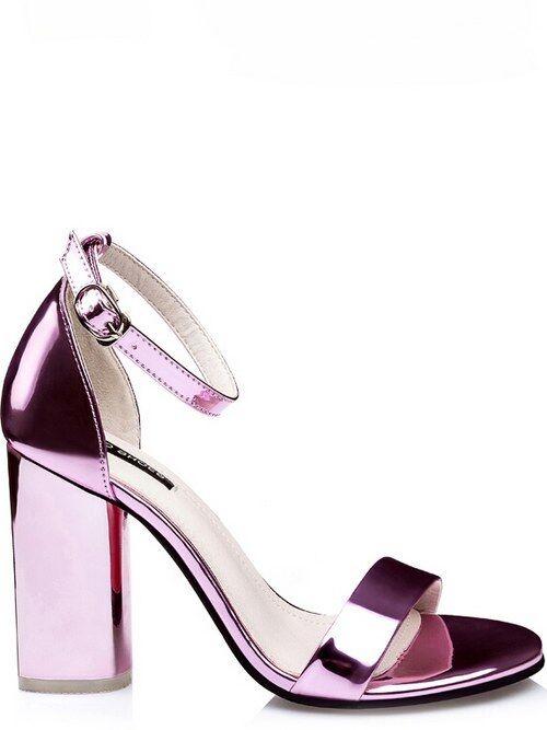 Sandalias cuadrado elegantes 9.5 cm rosa brillante como piel elegantes 8954