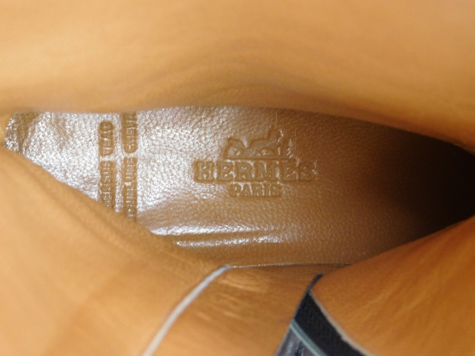 Hermes Paris Brown Soft Soft Soft Leather Riding Style Boots 37.5 US 7 Semelle Cuir 6199 f03954