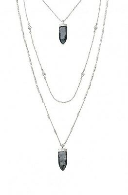 STELLA ARIA PENDANT NECKLACE SILVER CHAIN LONG LAYERED BLACK RESIN DOT GEMSTONE