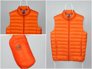Mens-Michael-Kors-Packable-Down-Fill-Waistcoat-Puffer-Gilet-Orange-Size-L