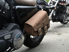 Brown Leather Swingarm Single Sided Pannier Saddle Bag Harley Davidson Sportster
