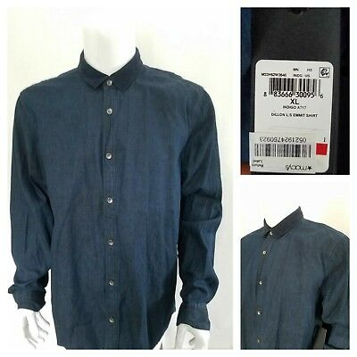 Mens NWT Browning Dillon Shirt Button Down Heavyweight Navy Blue Size L