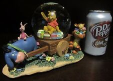 RARE Disney Winnie the Pooh Piglet Tigger Eeyore Wheelbarrow Snowglobe Music Box