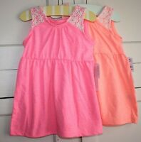 Two Girls Crochet Neon Pink And Orange Summer Sundresses Size 18 M