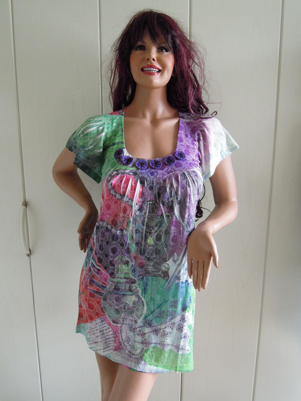 Custo Barcelona Kleid Hängerchen Gr. 40 Gr. 42 farbenfroh Poison hauchzart sexy