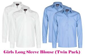 b24b8e79 Girls School Uniform Blouses Shirts Twin x2 Pack White Sky Blue Long ...