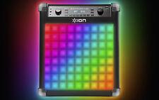 ION Block Rocker Flash 50 Watt AM FM Bluetooth Wireless Rechargeable Speaker LED