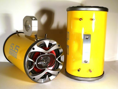 "1200 Watt BOSS Boat Wakeboard Tower Speakers /""Metallic Yellow/"" SJS Dezign UTV"