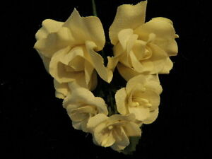 "Millinery Flower 1.5"" Rose Organdy Cluster of5 Ivory for Hat Wedding + Hair K70"