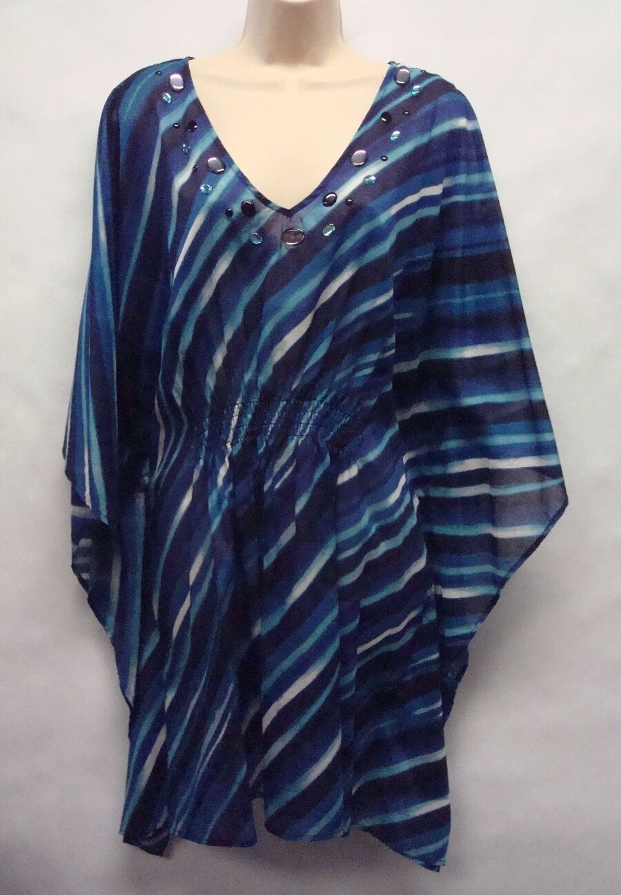 NWT Jones New York Shirt  Blau Sapphire  1X Semi-Sheer, Stone Accents Ret