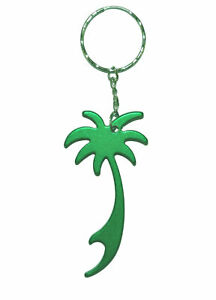 Palm-Tree-Keyring-Green-Bottle-Opener-Tropical-Colour-Metal-Keychain