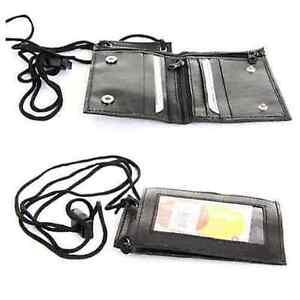 Men's Genuine Leather ID Necklace Wallet Badge ID Holder Neck Strap Wallet Black