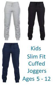 Bambini-Slim-Pantaloni-da-Jogging-Bimbi-Cotone-Corsa