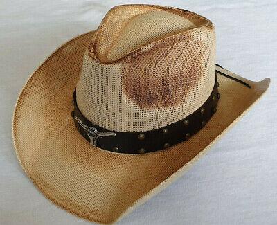 Kenntnisreich Cowboyhut Mit Hutband Und Formbarer Krempe Westernhut Strohhut Country Gute QualitäT