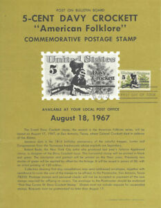 1330-5c-Davy-Crockett-Stamp-Poster-Unofficial-Souvenir-Page-Folded-MC