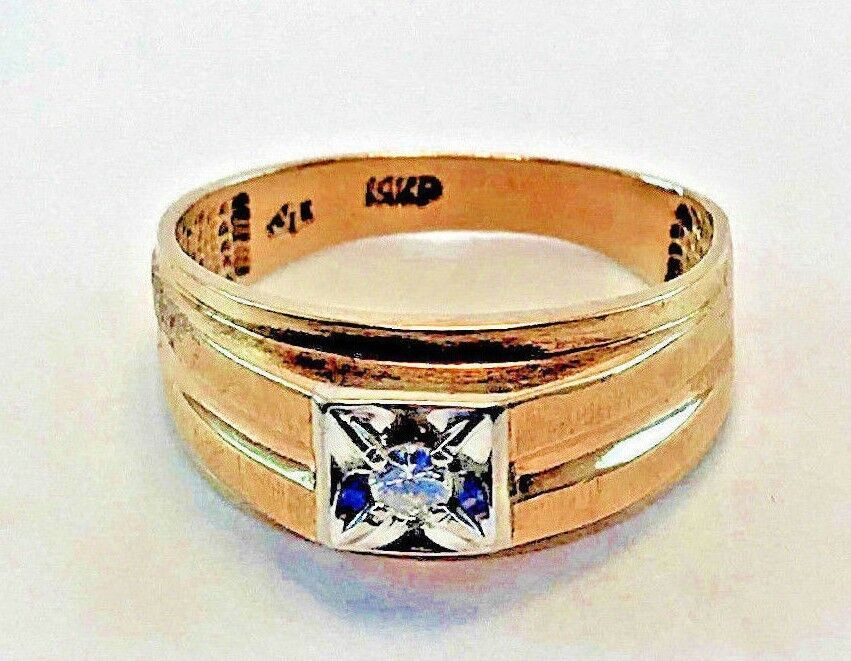 Vintage Two-tone 14kt gold Men's Wedding Ring With Diamond