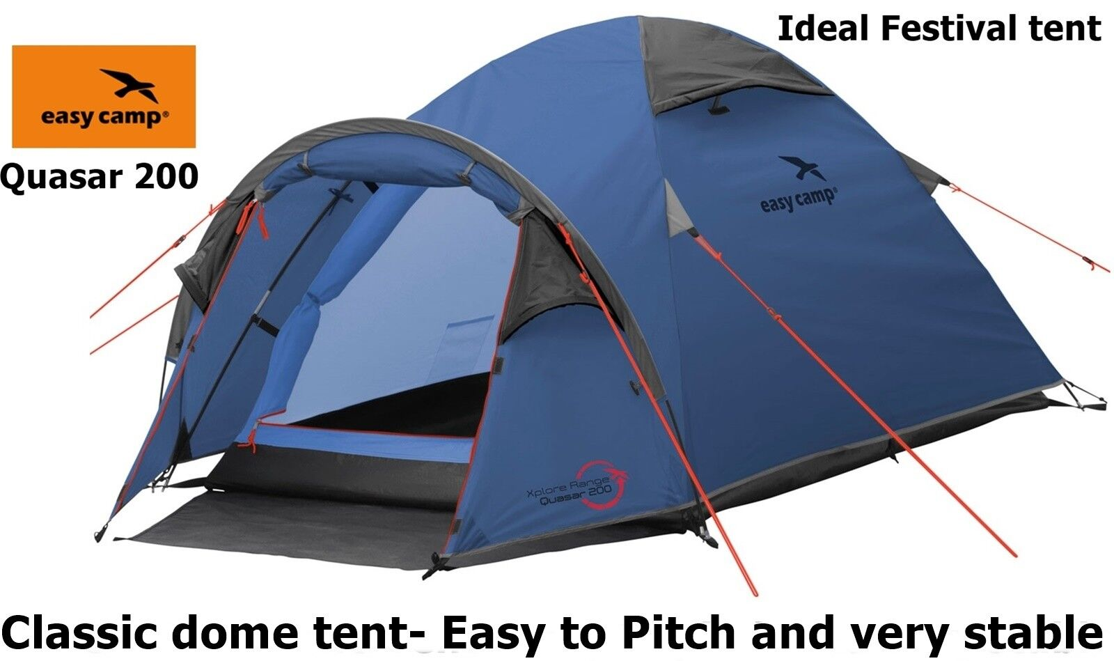Easy Camp Quasar 200 2 Person Tent Ideal Festival Camping