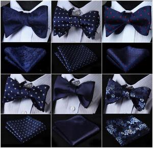 939f611ed409 21 Style Men's Navy Blue Self Bow Tie Set Woven Silk Pocket Square ...