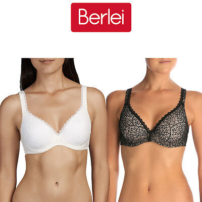 Womens Berlei Barely There Lace Bra Soft Stretch Contour Black Ivory Padded YYTP