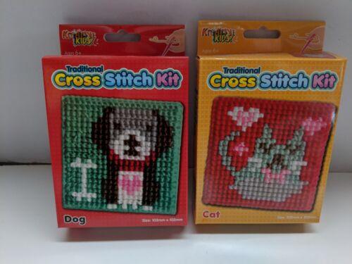 2 x Beginners Child Cross Stitch Cat /& Dog Age 6+