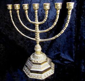 Ebraico-7-Armiger-Kerzenleuchter-Hebraeisch-100-Messing-Juedische-Menora-34cm