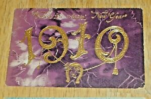 Vintage Lot (3) 1909 Embossed New Year Post Cards - Antique Postcards