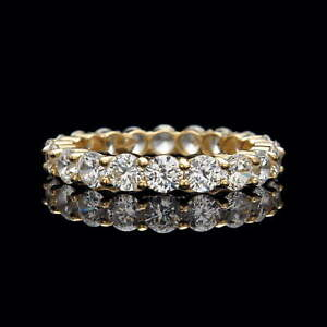 3-00CT-BRILLIANT-CREATED-DIAMOND-ETERNITY-RING-SOLID-14K-YELLOW-GOLD-BAND-SIZE-6