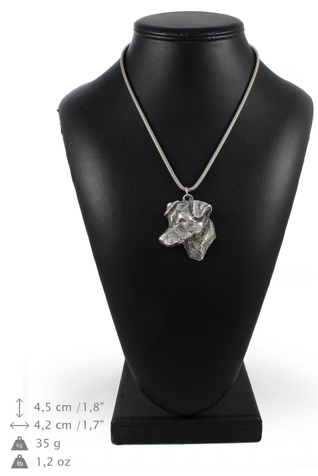 Jack Russell Terrier - silver plaqué collier sur une cordon en silver Art Dog FR