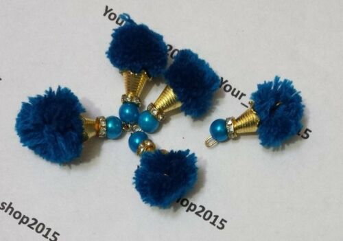 5-10 Beautiful Pom Pom Faux pearl with gold diamante Rondelle Cap buttons beads