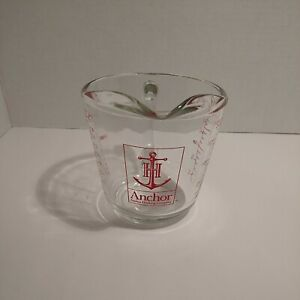 Vintage Anchor Hocking Glass Measuring Cup 2-Cup  Red Lettering D Handle #498