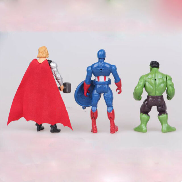 6Pcs//Set New Avengers Batman Hulk Thor Iron Man Superman Action Figure Kids Gift