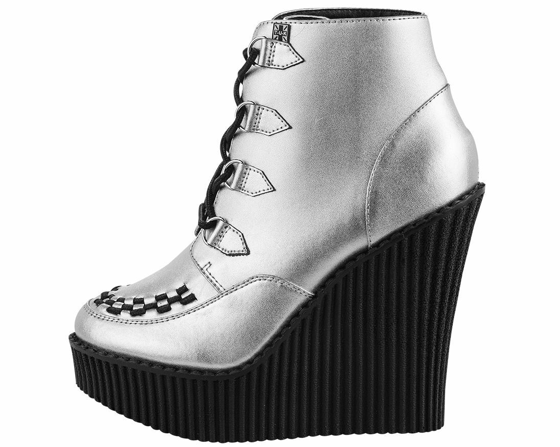 T.U.K. A8380L CREEPER WEDGE BOOTIE SILVER Ladies Size US 6 EU 37