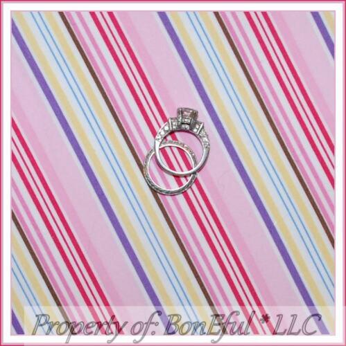 BonEful Fabric FQ Cotton Quilt Pink White Brown Purple Yellow Blue Stripe Girl S