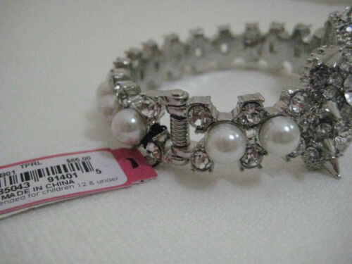 Betsey Johnson Spike Crystal /& Faux Pearl Bow Bangle Bracelet $65 NWT Authentic